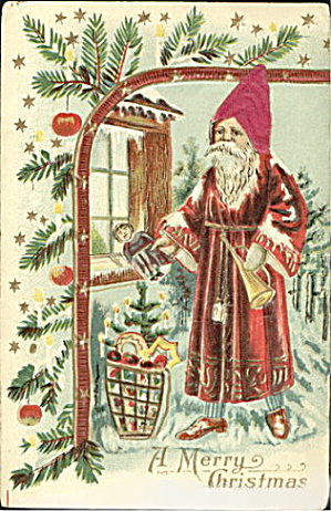 1908 Silk Hat Santa Claus with Pine Postcard (Image1)