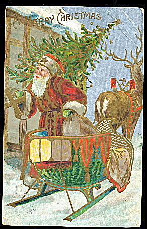 Santa Claus In Sleigh With Toys 1908 Postcard
