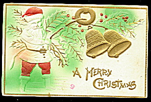 Santa Claus Embossed with Bells 1910 Postcard (Image1)
