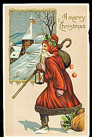 Santa Claus/father Christmas Robed 1911 Postcard