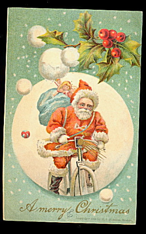 Santa Claus Riding Bicycle Of Holly 1908 Postcard