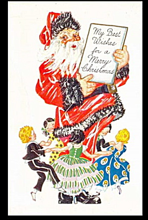 Santa Claus with Children Circling 1910 Postcard (Image1)