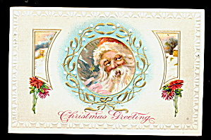 Santa Claus in Holly Window 1913 Postcard (Image1)