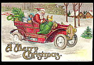 Santa Claus in Automobile with Toys 1907 Postcard (Image1)
