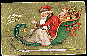 1909 Santa Claus In Sleigh With Toys Postcard