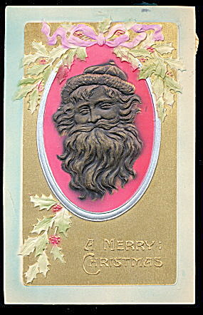 Embossed Gold Santa Claus Profile 1907 Postcard 2 (Image1)