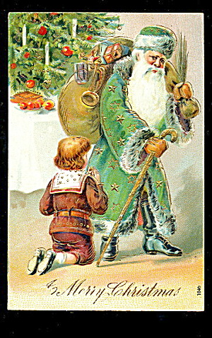 Santa Claus In Green Robe W Child 1907 Postcard