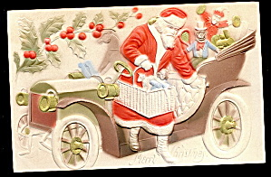Santa Claus In Automobile Embossed 1907 Postcard