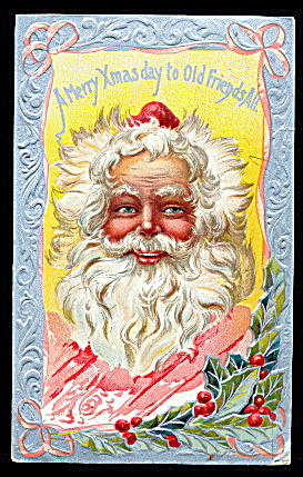 1910 Santa Claus 'merry Xmas' Profile Postcard