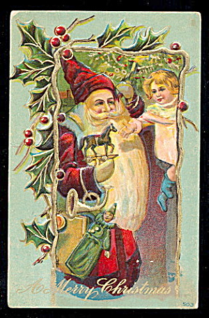 Santa Claus/Father Christmas Robed 1911 Postcard (Image1)