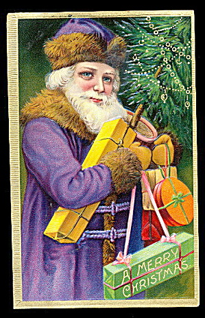 Purple Robe Santa Claus With Tree 1908 Postcard