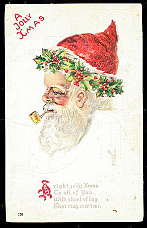 'A Jolly Xmas' Santa Claus Profile 1907 Postcard (Image1)