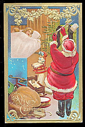 1909 Santa Claus with Children Sleeping Postcard (Image1)