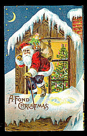 Santa Claus On Roof With Bag 1907 Postcard