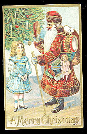 Santa Claus/father Christmas W Staff 1908 Postcard