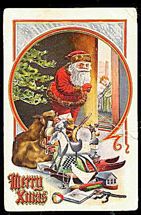 Santa Claus with Toys Peeking in at Child 1914 Postcard (Image1)