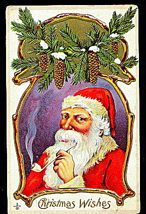1912 Santa Claus With Garland Of Pine Postcard