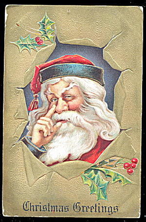 Santa Claus With Finger On Nose 1911 Postcard