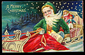 Santa Claus In Green Robe In Sleigh 1907 Postcard