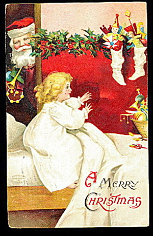 Ellen Clapsaddle Santa Claus With Girl 1908 Postcard