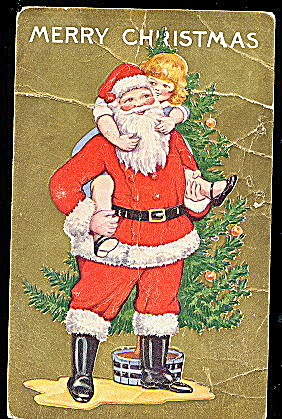 1925 Santa Claus with Child on His Back Postcard (Image1)