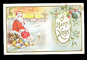 Santa Claus Sitting Merry Christmas 1907 Postcard