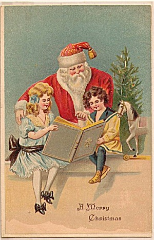 Santa Claus with Children Reading Book 1908 Postcard (Image1)