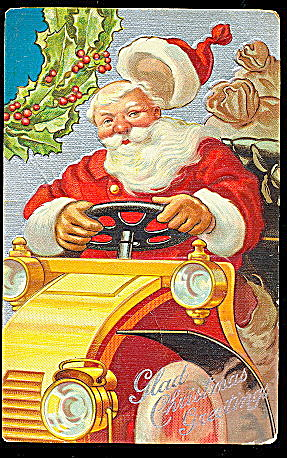 Santa Claus In Automobile With Holly 1907 Postcard