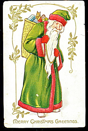 Tucks Santa Claus in Green Robe 1907 Postcard (Image1)