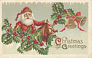 Santa Claus With Toys In Holly 1910 Postcard
