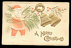 Santa Claus Embossed with Bells 1913 Postcard (Image1)