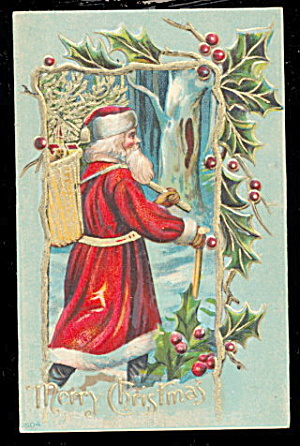 Santa Claus with Staff & Bag 1908 Postcard (Image1)