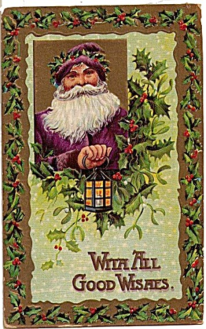 Purple Robe Santa Claus with Lantern 1908 Postcard (Image1)