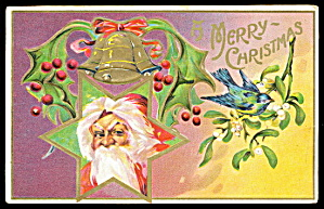 Santa Claus Head in Star Christmas 1915 Postcard (Image1)