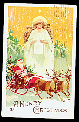 Santa Claus in Sleigh with Angel 1915 Postcard (Image1)
