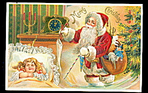 Santa Claus W Girl Sleeping 1907 Postcard