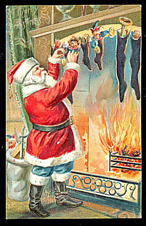 Santa Claus Filling Stockings 1907 Postcard