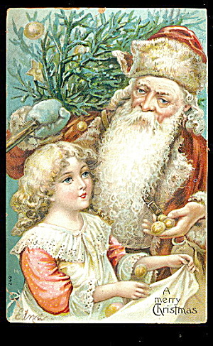 Fur Coat Santa Claus With Girl 1908 Postcard