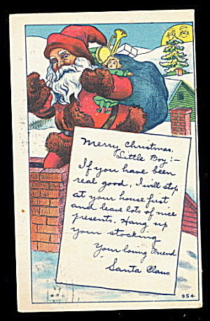 Santa Claus Reading List 1928 Postcard (Image1)