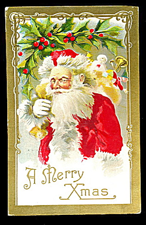1910 Santa Claus With Fir Tree Postcard - Winsch