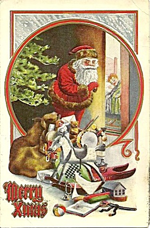 1910 Santa Claus with Bag of Toys Postcard (Image1)