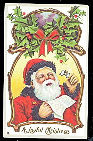 Santa Claus in Circle with Holly 1914 Postcard (Image1)