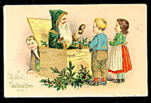Santa Claus In Green Robe 1907 Postcard