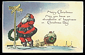 1920 Santa Claus Looking Lost Postcard (Image1)