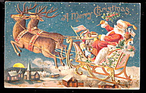 Santa Claus With Reindeer 1906 Postcard