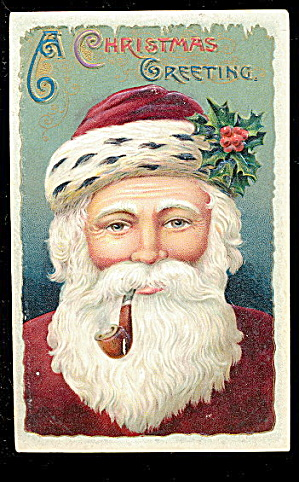 Santa Claus Profile With Pipe 1908 Postcard