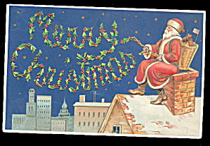 Santa Claus Sitting In Chimney 1907 Postcard