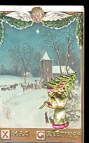 1908 Metal Santa Claus With Tree Postcard