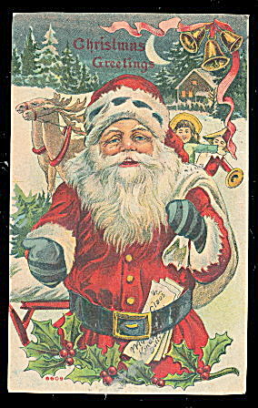 1910 Santa Claus With Toys Postcard