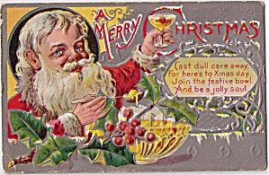 A Merry Christmas Santa Claus 1910 Postcard